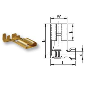 Szigeteletlen rátolható csatlakozó hüvely 7,7×0,8mm, 1-2,5mm2, 90°