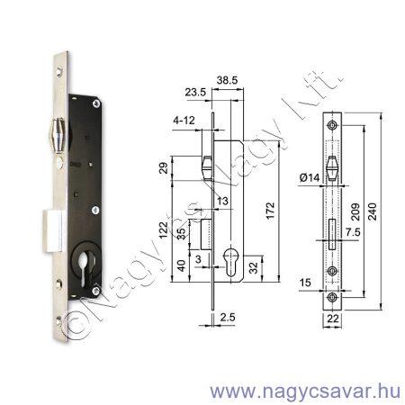 Zár 3390-es europortál 4cm görgős ELZETT   (3)