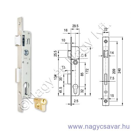 Zár 3398-as portálzár cilinderbetét nélkül 27mm ELZETT(1)