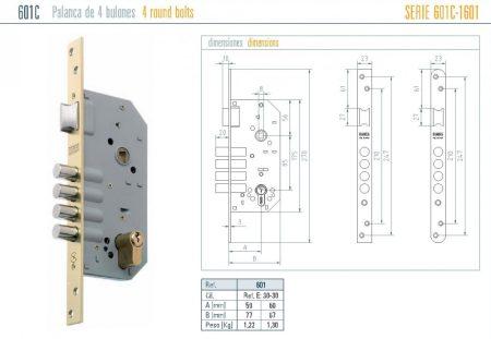MCM 601-es zár cilinderes, zárbetét nélkül