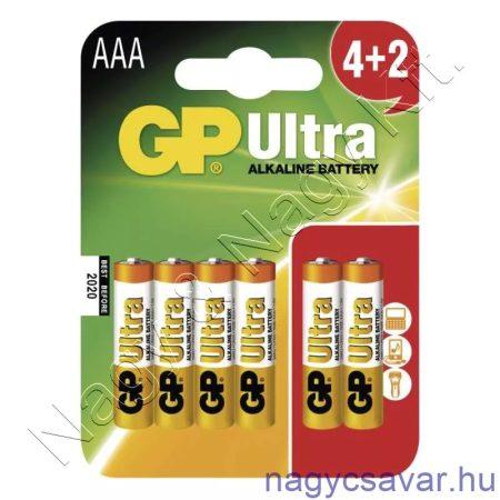 Ultra alkáli elem 1,5V AAA 6db/cs